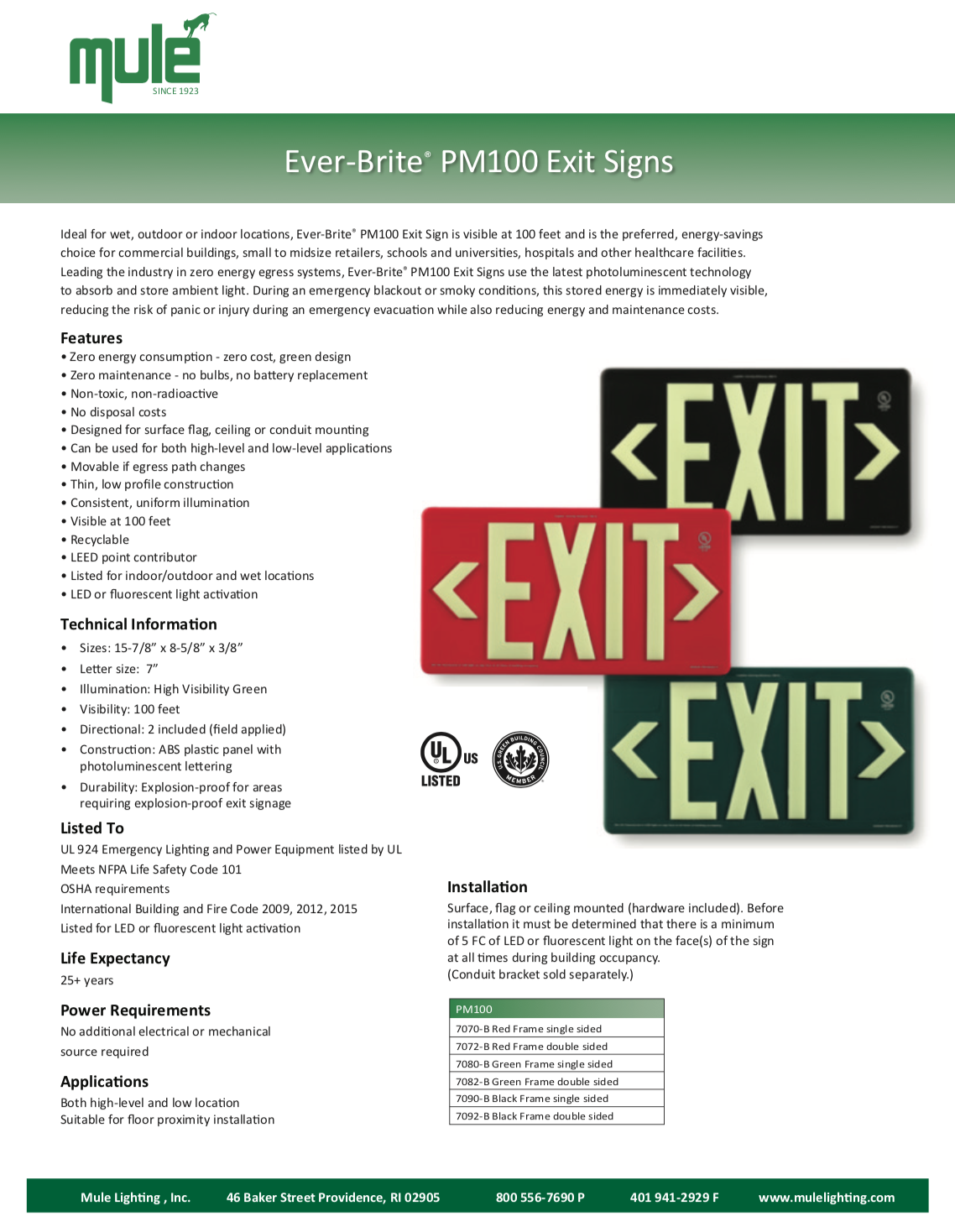Mule Lighting EBPM100 ExitSign Literature