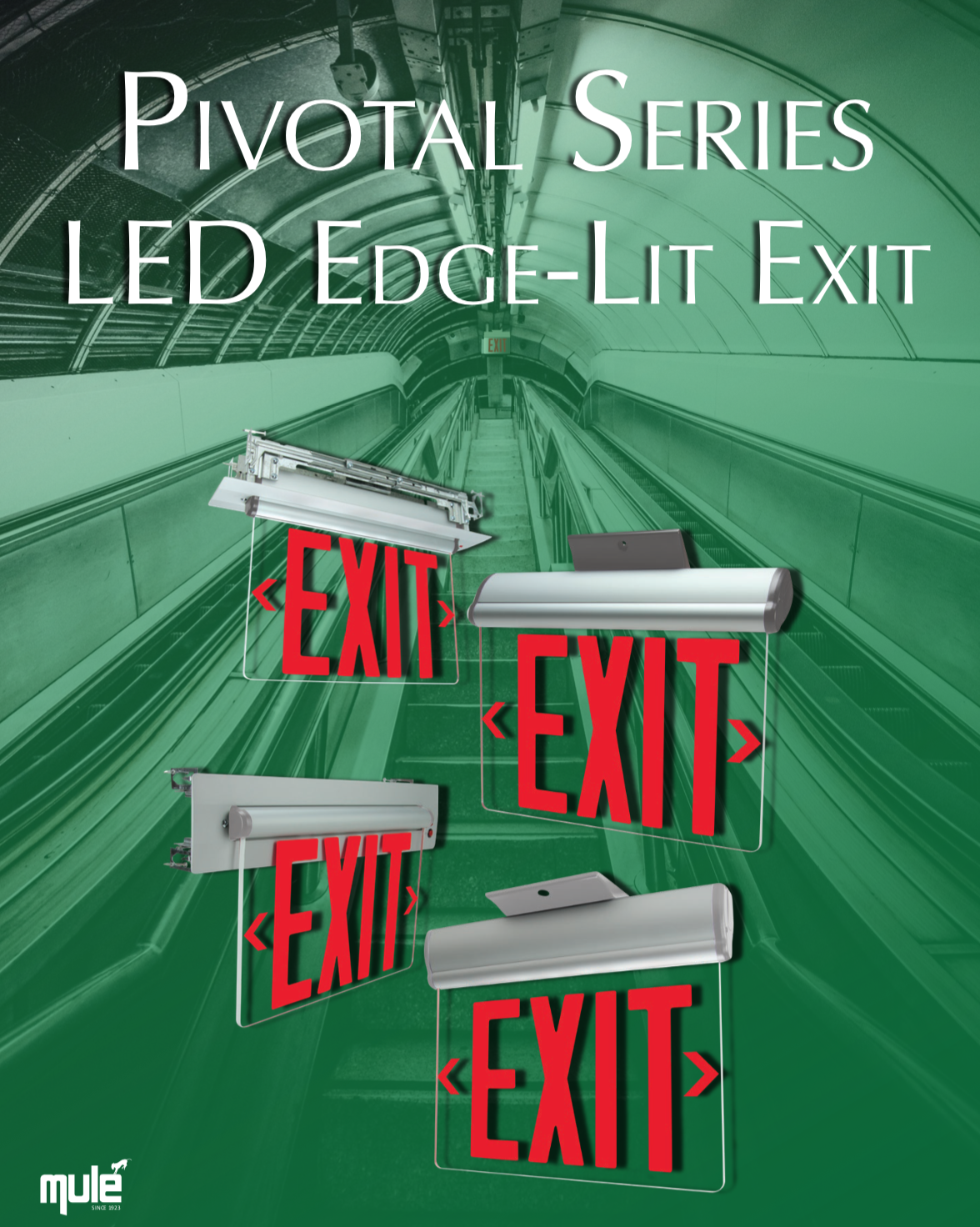 Mule Lighting Pivotal Series LED Edge-Lit Exit Literature